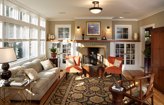 Midwest Shingle Style Craftsman Living Room