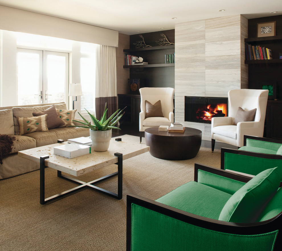 Inspiration for a contemporary formal and enclosed living room remodel in New York