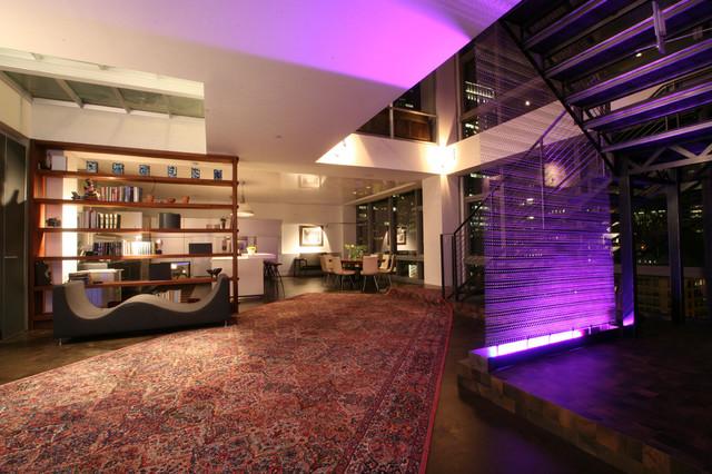 Millennium Tower Loft-Lighting design modern staircase