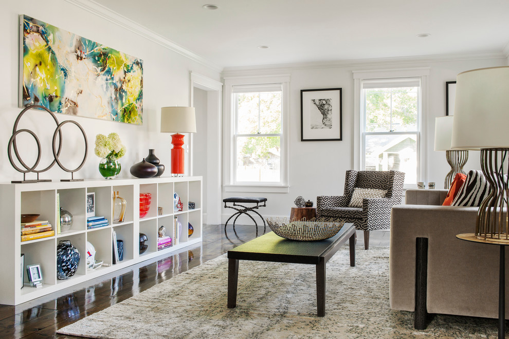 Inspiration for a mid-sized modern formal living room remodel in Boston with white walls and no fireplace