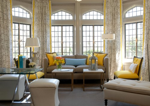 Modern interior grey and white colour schemes for Living room yellow accents