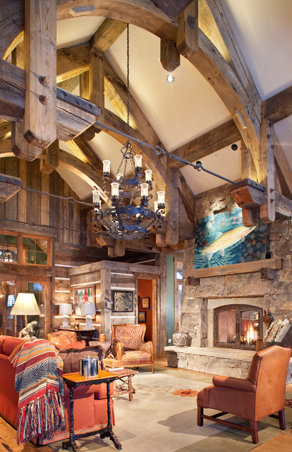 Mine style rustic mountain lodge rustic living room for Mountain lodge architecture