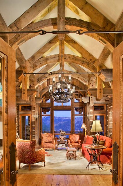 Mine Style Rustic Mountain Lodge Rustic Living Room