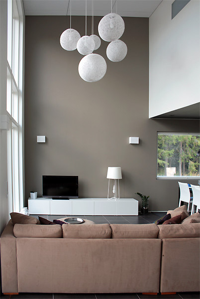 Minimalist interior with earth tones contemporary living room