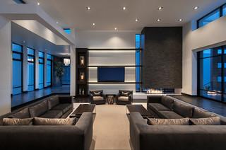 Minimalist Mountainside Contemporary Living Room
