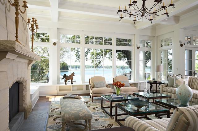 Minnetonka Shingle-Style traditional-living-room