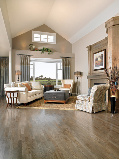 Mirage red oak charcoal engineered hardwood flooring traditional living room by for Charcoal and red living room
