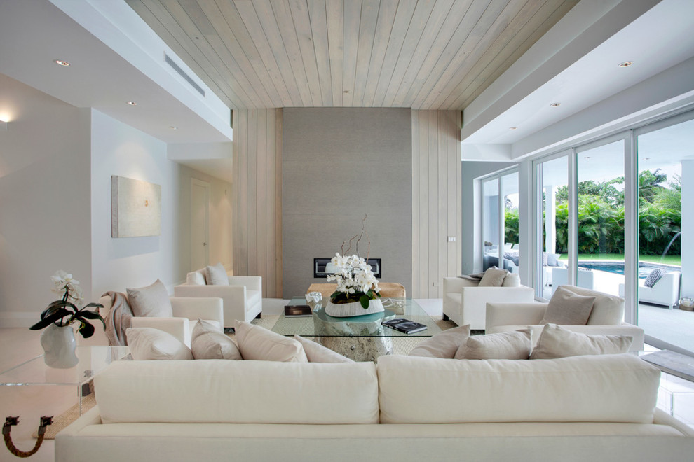 Large transitional formal living room photo in Los Angeles with a ribbon fireplace and no tv