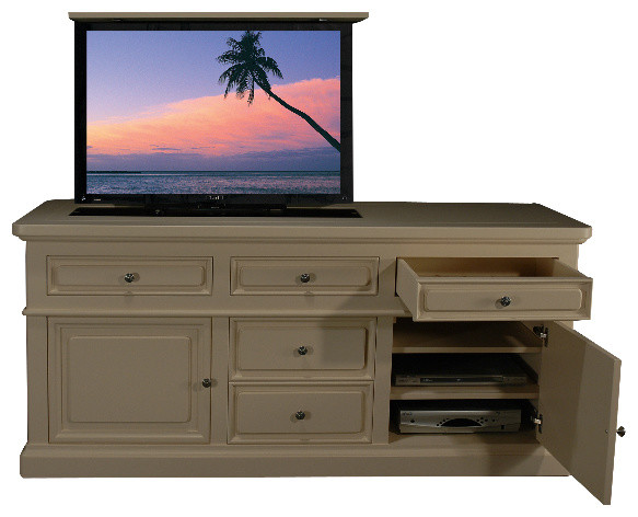 Mission bay flat screen tv lift cabinets us made tv lift for Tv lift consoles for flat screens