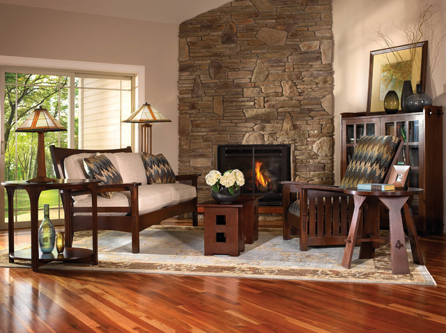 Mission collection for Craftsman style living room furniture