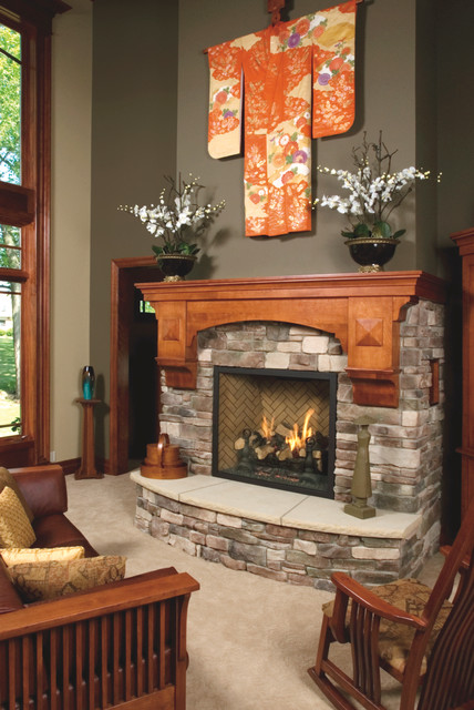 Mission Style Birch Fireplace Mantel Craftsman Living