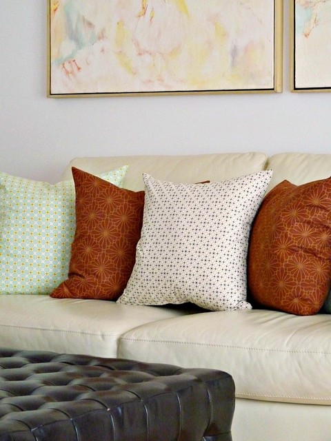 Mixing Printed Throw Pillows in Living Room eclectic living room