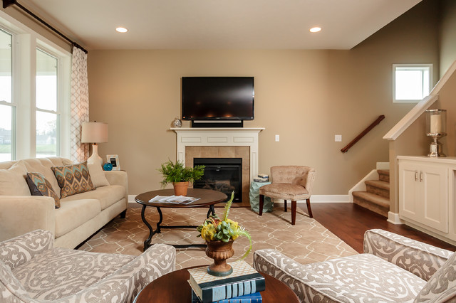 Model home at the preserves traditional living room for Living room 75020