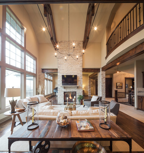 Model Home Starr Homes LLC Rustic Living Room