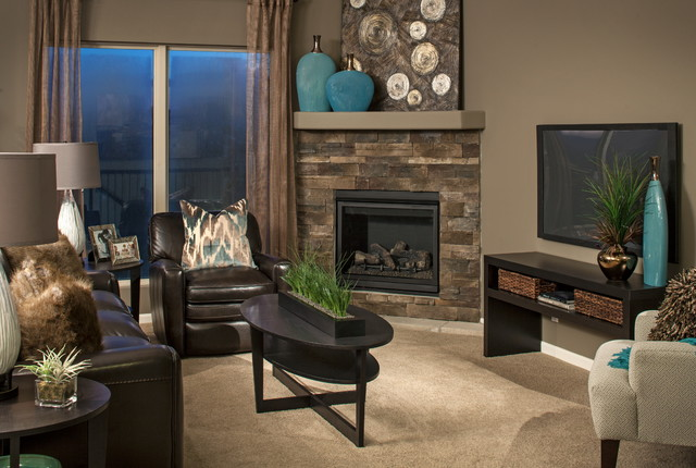 Model homes contemporary living room omaha by d3 for Model home living room