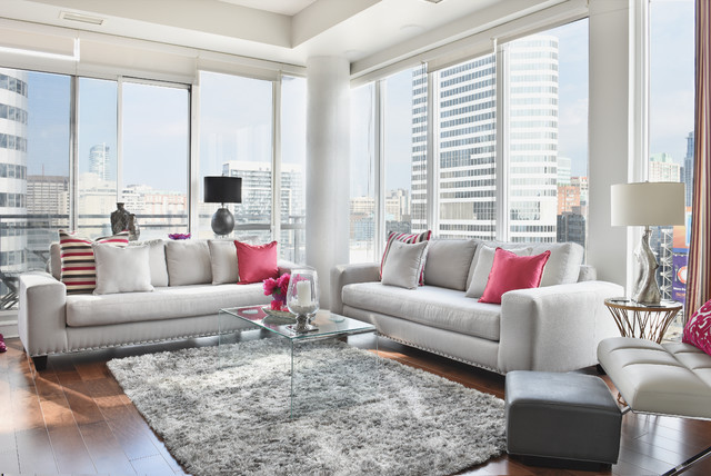 Modern glamorous condo with grey cream taupe and for Living room ideas pink and grey