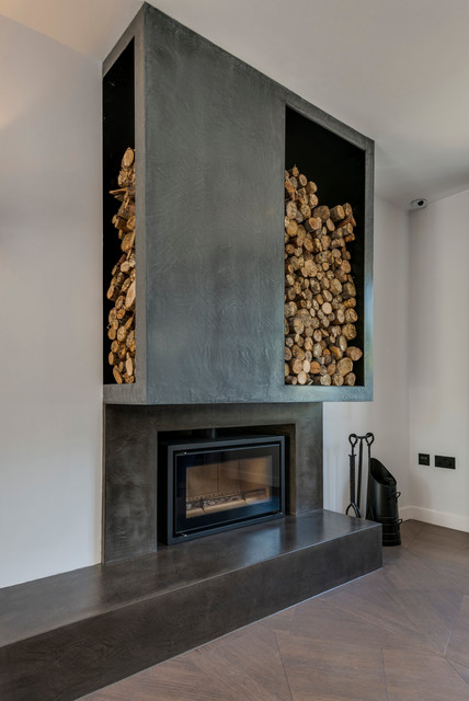 modern and unique beton cire chimney breast contemporary living room london by modern. Black Bedroom Furniture Sets. Home Design Ideas