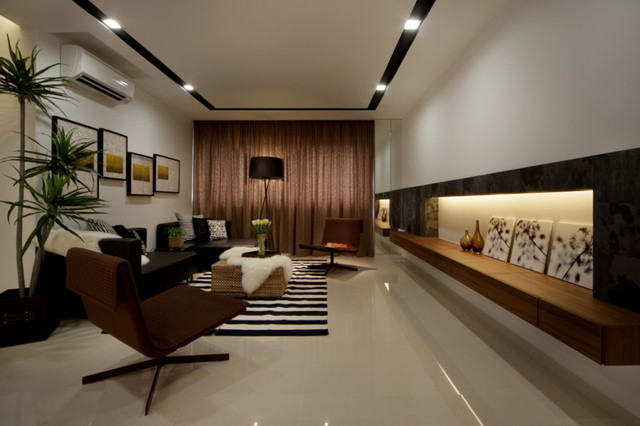Modern apartment in singapore with a clean design modern for Living room interior design singapore