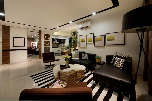 Modern apartment in singapore with a clean design for Modern living room ideas for apartment