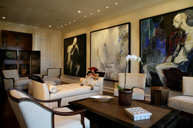 Interior Designers & Decorators. Modern Art Collector's Living Room  transitional-living-room