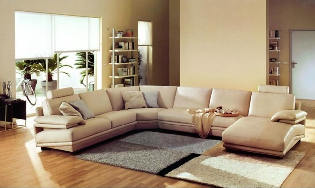 Modern Beige Bonded Leather U Shape Sectional Sofa Modern Living Room