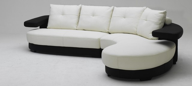 Modern Black And White Sectional Sofa In Top Grain Leather  Modern Living Room