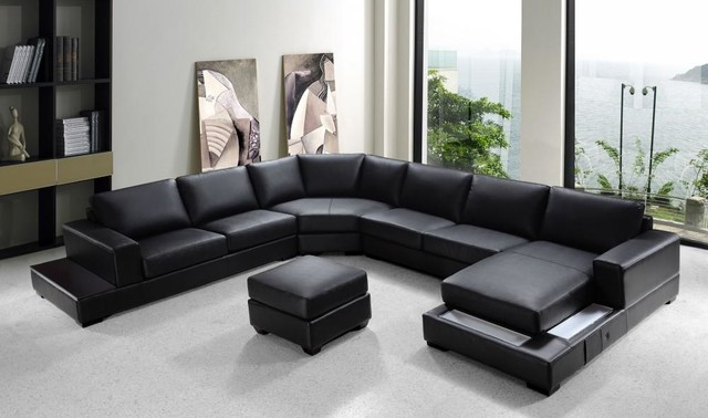 Modern Black Bonded Leather Sectional Sofa Set Modern Living Room