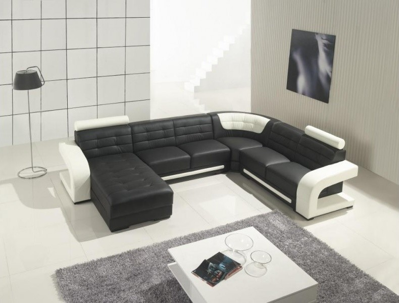 bonded leather u shape sectional sofa