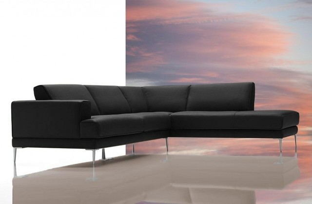 Modern Black Italian Leather Sectional Sofa Modern