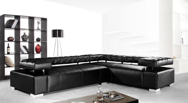 modern black leather couches. Example Of A Minimalist Living Room Design In Los Angeles Modern Black Leather Couches :