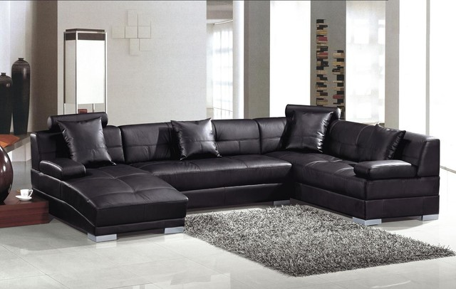 Modern black leather u shape sectional sofa with chaise - Leather furniture for small living room ...