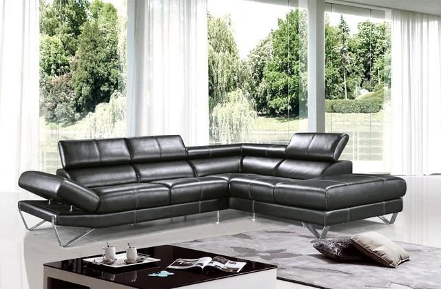 Modern Black Sectional Sofa in Top Grain Italian Leather modern-sectional-sofas