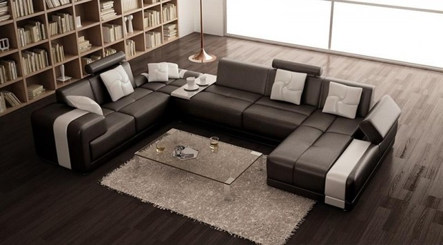 Modern bonded leather u shape sectional sofa in espresso for U shaped living room layout