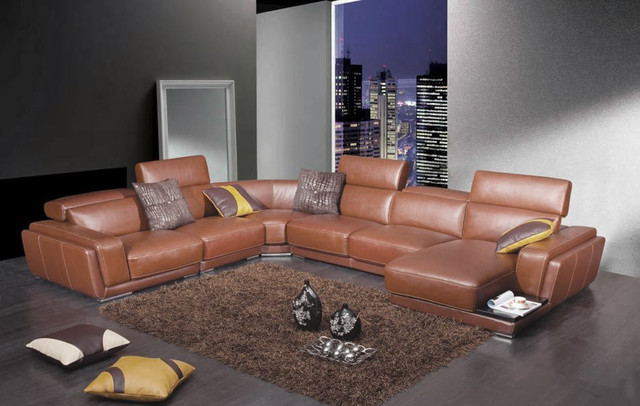 Modern Brown Leather Sectional Sofa with Retractable ...