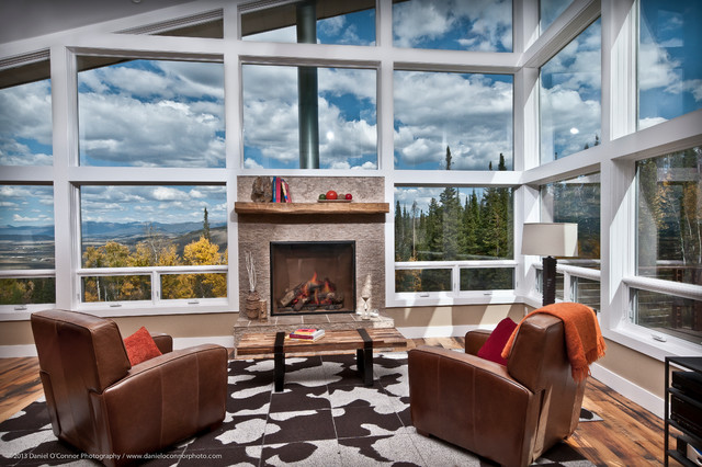 Modern Cabin Colorado Style Contemporary Living Room