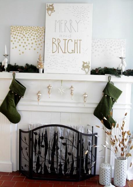 Modern Christmas Mantle living-room