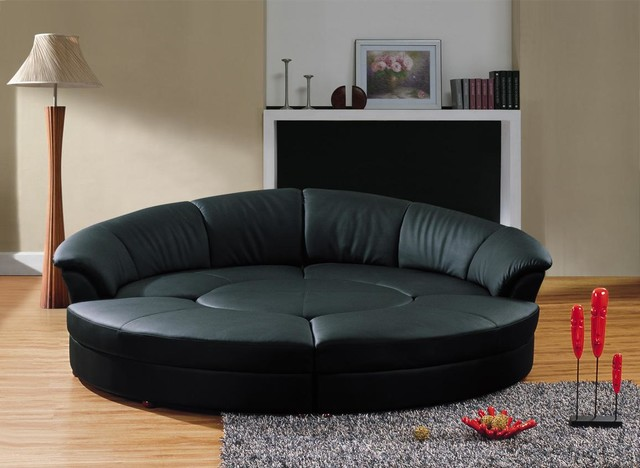 Modern Circular Sectional Sofa In Black Leather Modern Living Room
