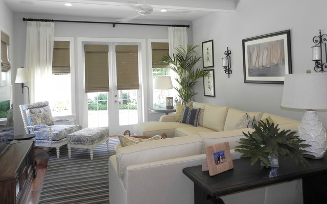 Modern Coastal Family Room Beach Style Living Room