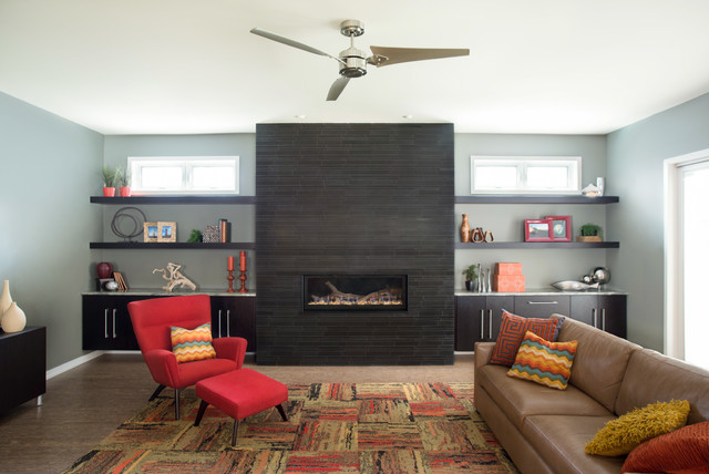 Captivating This Is An Example Of A Modern Living Room In Chicago With A Ribbon  Fireplace And