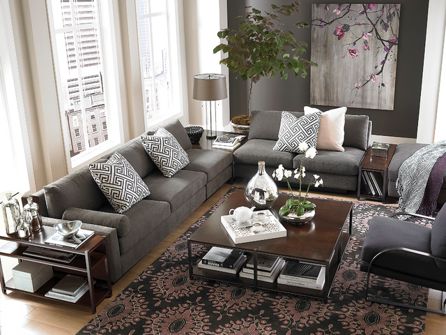 Modern comfort l shaped sectional by bassett furniture for Living room ideas l shaped sofa
