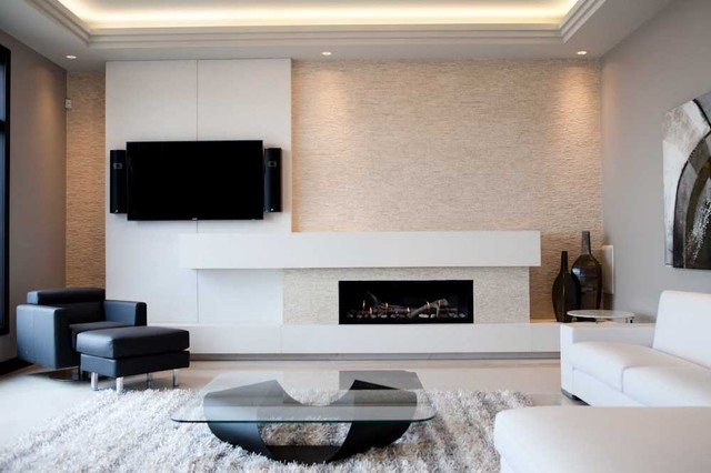 Custom built concrete fireplace surround to fit Majestic linear fireplace.  Built by Dekko Concrete Decor