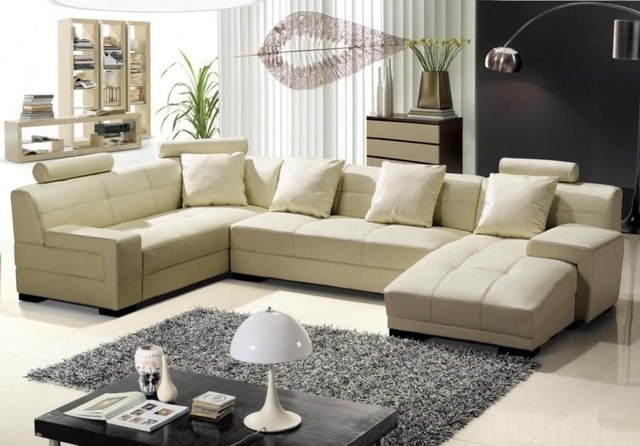 Modern Cream Bonded Leather Sectional Sofa Living Room