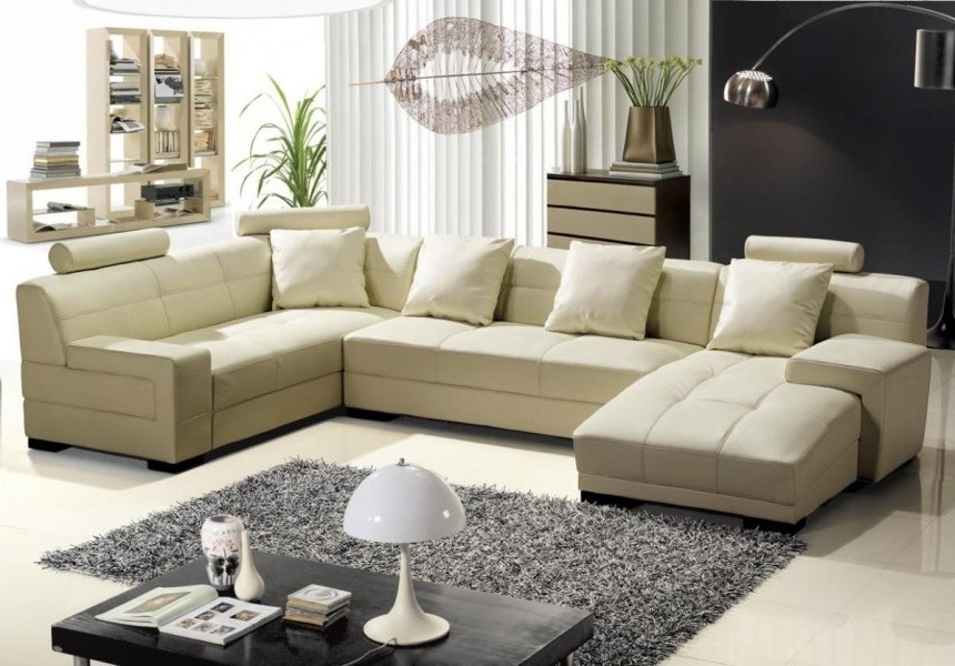 Modern Cream Bonded Leather Sectional Sofa Modern Living Room Los Angeles By Eurolux Furniture