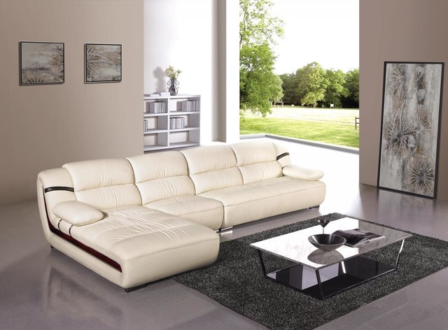 Modern Cream Leather Sectional Sofa With Chaise Modern Living Room Los Angeles By Eurolux Furniture Houzz Uk
