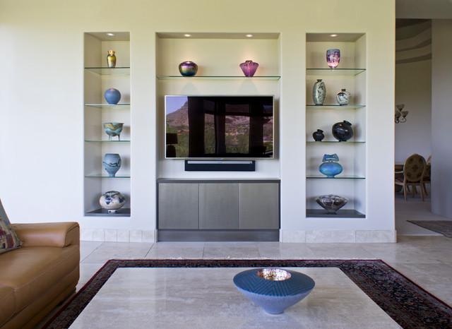 Modern Custom Home Entertainment Center modern-living-room