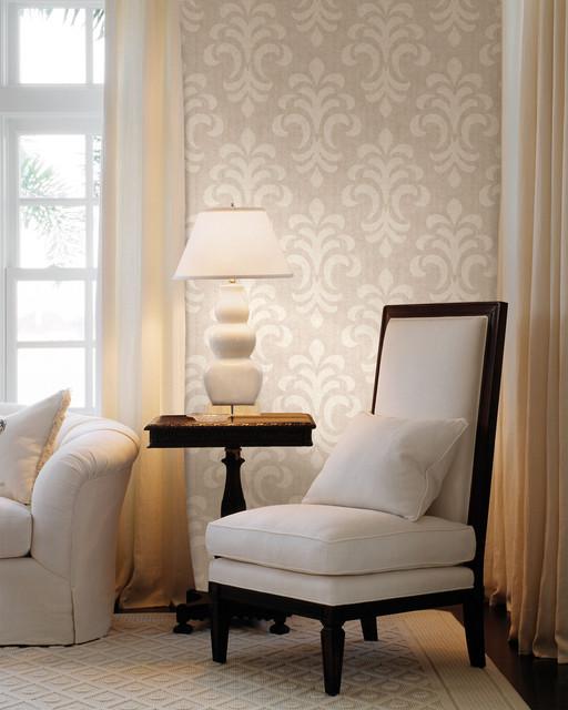 Damask Living Room Decor: Modern Damask Wallpaper