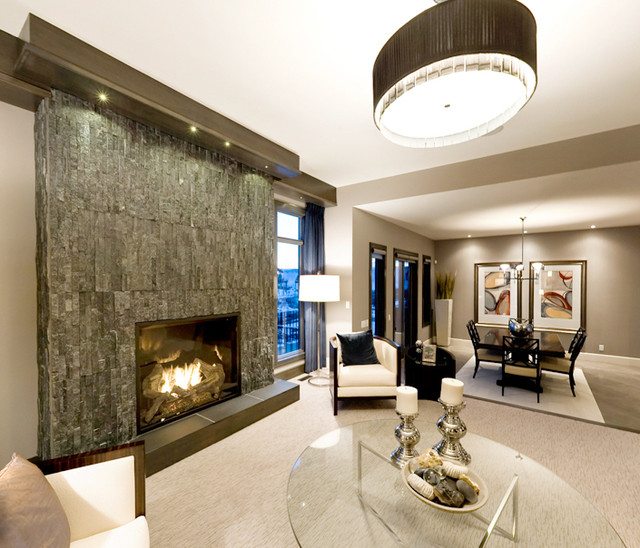 Modern Dark Split Stone Fireplace Modern Living Room