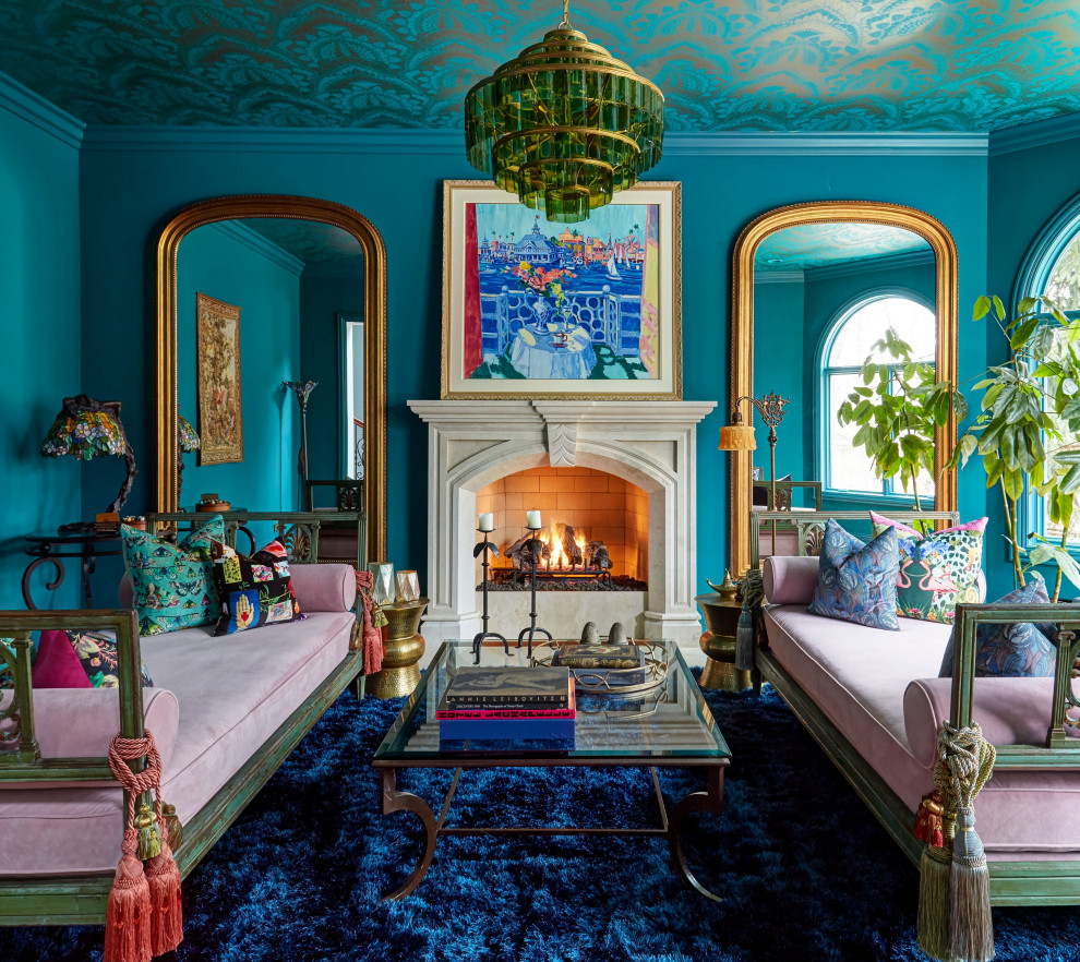 Living room - large victorian formal and enclosed living room idea in Chicago with blue walls, a standard fireplace and no tv
