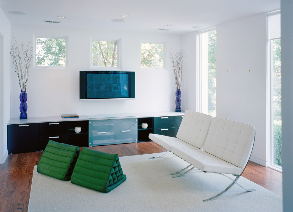 Inspiration for a modern living room remodel in DC Metro with white walls and a wall-mounted tv