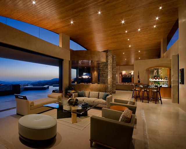 Modern desert classic home modern living room for Classic house phoenix